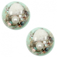 Cabochon basic met schelpje 20mm Turquoise green