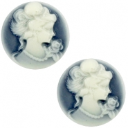 Cabochon basic camee 20mm Dark blue-off white