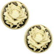 Cabochon basic camee 20mm roos Black-antique gold