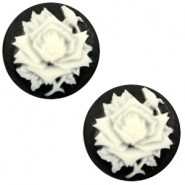 Cabochon basic camee 20mm roos Black-white