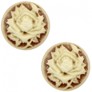 Cabochon basic camee 20mm roos Brown-antique gold