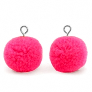 Pompom bedels met oog 15mm Hot neon pink-silver