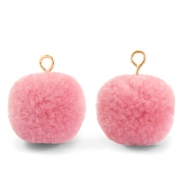 Pompom bedels met oog 15mm Rouge pink-gold