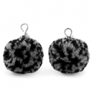 Pompom bedels met oog 15mm Black grey-silver