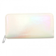 Trendy portemonnees holographic Metallic rainbow-off white