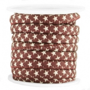 Trendy gestikt koord 6x4mm ster Aubergine red-brown
