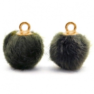 Pompom bedels met oog faux fur 12mm Olive grey-gold