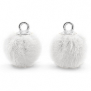 Pompom bedels met oog faux fur 12mm White-silver