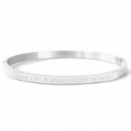 "Roestvrij stalen (RVS) Stainless steel armbanden ""LOVE LIFE AND ENJOY EVERY MOMENT"" Silver"