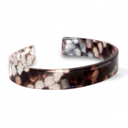 Trendy armbanden resin loose fit snake shiny Brown-grey