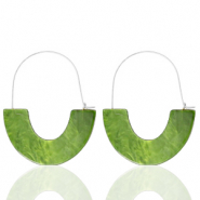 Trendy oorbellen resin Olive green-silver