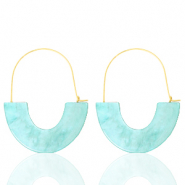 Trendy oorbellen resin Turquoise-gold