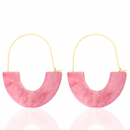 Trendy oorbellen resin Pink-gold