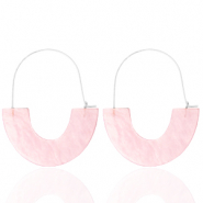 Trendy oorbellen resin Light pink-silver