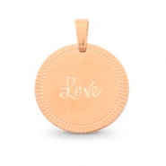 "Roestvrij stalen (RVS) Stainless steel bedels rond 15mm ""love"" Mix & Match Rosé goud"