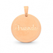"Roestvrij stalen (RVS) Stainless steel bedels rond 15mm ""friends"" Mix & Match Rosé goud"