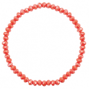 Top facet armbandjes 4x3mm Vintage rose peach-pearl shine coating
