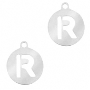 Roestvrij stalen (RVS) Stainless steel bedels rond 10mm initial coin R Zilver