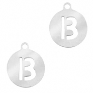 Roestvrij stalen (RVS) Stainless steel bedels rond 10mm initial coin B Zilver