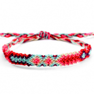 Trendy armbanden/enkelbandjes Brazilian style| One size fits all Multicolour red-fluor pink