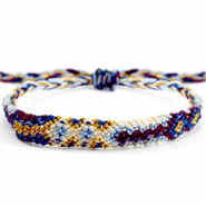 Trendy armbanden/enkelbandjes Brazilian style| One size fits all Multicolour white-blue