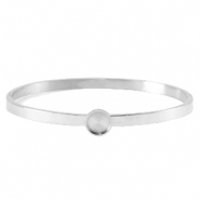 Polaris Steel (RVS) bangle armband met setting voor 7mm cabochon/Swarovski SS34 Zilver