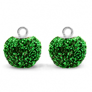 Pompom bedels met oog glitter 12mm Irish green-silver
