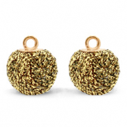Pompom bedels met oog glitter 12mm Rich gold-gold