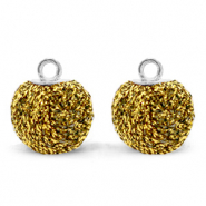 Pompom bedels met oog glitter 12mm Bright gold-silver