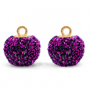 Pompom bedels met oog glitter 12mm Acai purple-gold