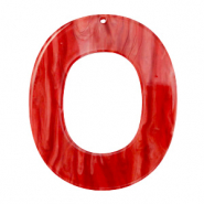 Resin hangers ovaal 48x40mm Chilli red