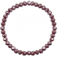 Top facet armbandjes 6x4mm Rocky road brown-pearl shine coating