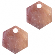 Resin hangers hexagon Sugar almond taupe
