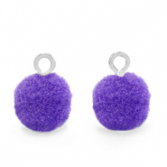 Pompom bedels met oog 10mm Silver-Purple
