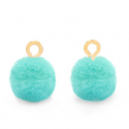 Pompom bedels met oog 10mm Gold-Icy morn blue