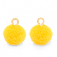 Pompom bedels met oog 10mm Gold-Sunshine yellow