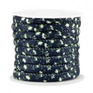 Trendy gestikt koord 6x4mm Dark blue