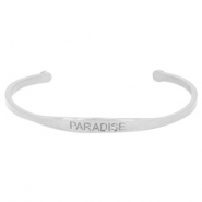 "Stainless steel armband met quote ""PARADISE"" Zilver"