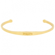 "Stainless steel armband met quote ""INSPIRE"" Goud"