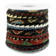 Trendy gestikt koord 6x4mm Multicolor black-red-blue