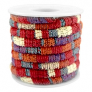 Trendy gestikt koord 6x4mm Multicolor red-orange-purple