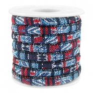 Trendy gestikt koord 6x4mm Multicolor dark blue-red