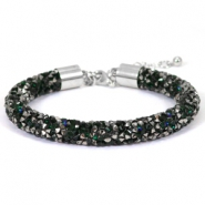 Crystal diamond armbanden 8mm Deep emerald green-anthracite