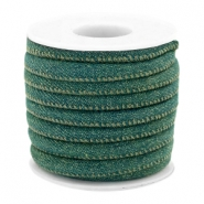 Trendy gestikt koord denim 6x4mm Dark emerald green
