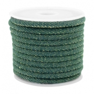 Trendy gestikt koord denim 4x3mm Dark emerald green