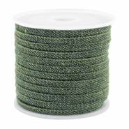 Trendy gestikt koord denim 4x3mm Dark green