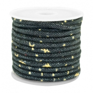 Trendy gestikt koord denim 4x3mm Indigo night blue-gold