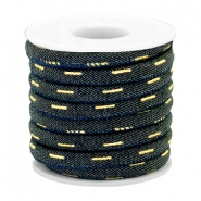 Trendy gestikt koord denim 6x4mm Indigo night blue-gold