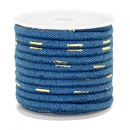 Trendy gestikt koord denim 4x3mm Midnight blue-gold