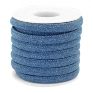 Trendy gestikt koord denim 6x4mm Regular blue